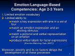 emotion language based competencies age 2 3 years