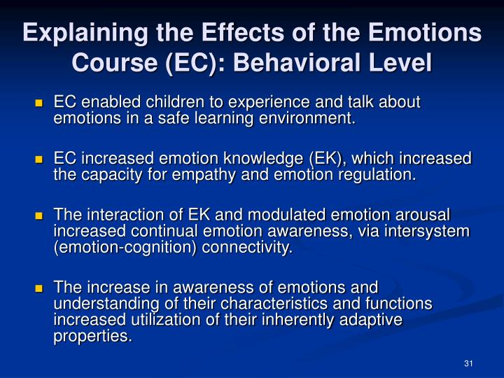 Explaining the Effects of the Emotions Course (EC): Behavioral Level
