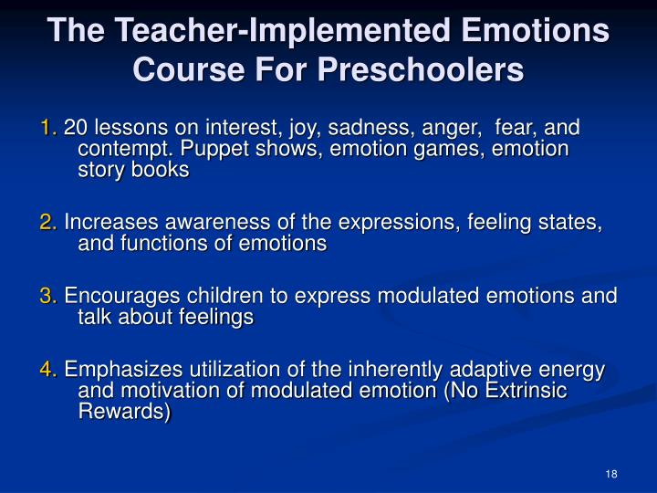 The Teacher-Implemented Emotions Course For Preschoolers