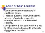 game or nash equilibria