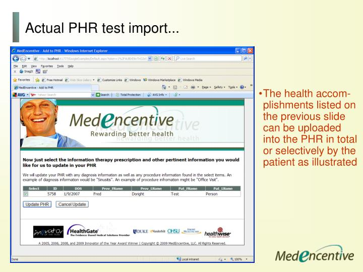 Actual PHR test import...