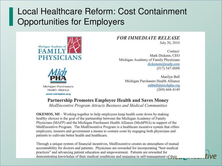 Local Healthcare Reform: Cost Containment Opportunities for Employers