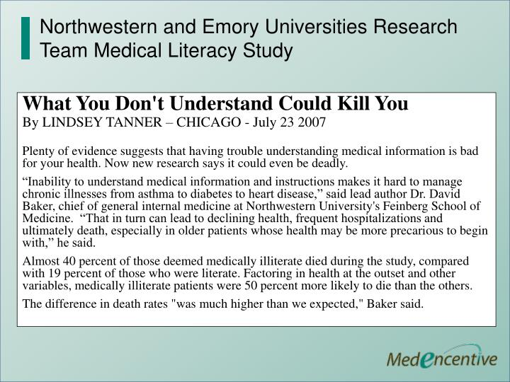 Northwestern and Emory Universities Research Team Medical Literacy Study