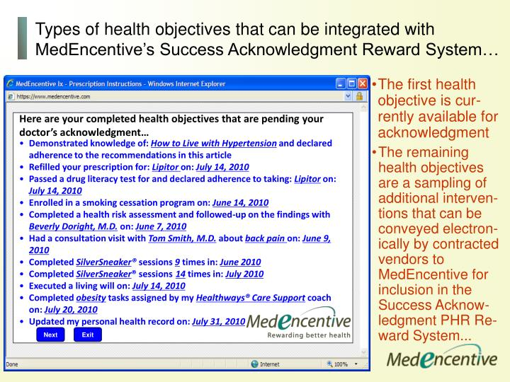 Types of health objectives that can be integrated with MedEncentive's Success Acknowledgment Reward System…