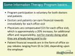 some information therapy program basics