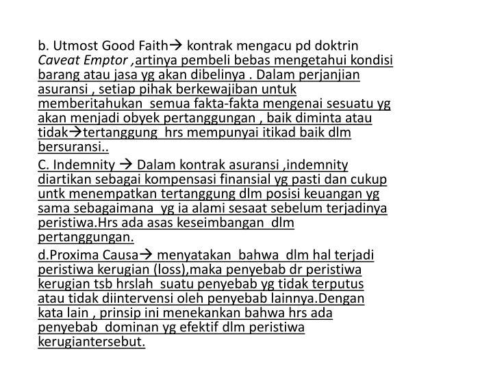 b. Utmost Good Faith