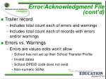 error acknowledgment file cont d