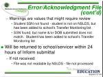 error acknowledgment file cont d24