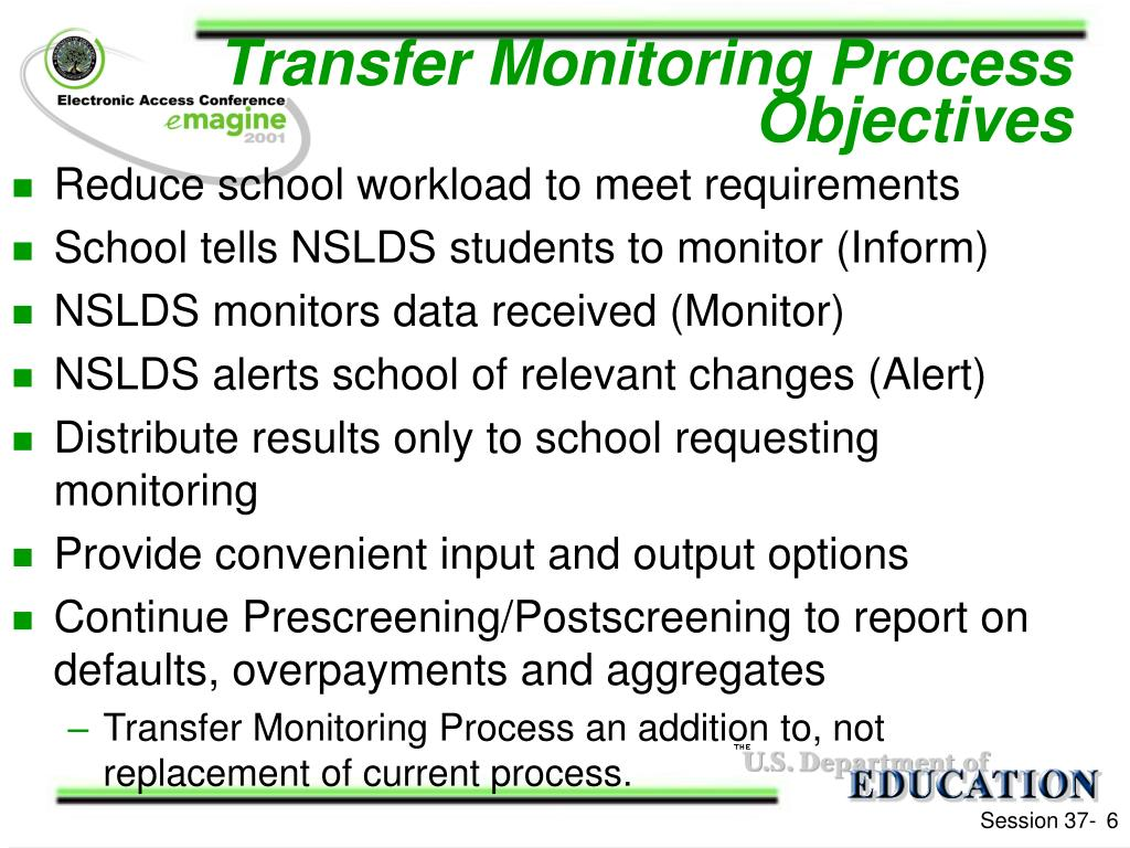 Transfer Monitoring Process Objectives