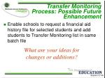 transfer monitoring process possible future enhancement