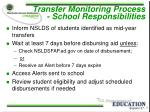 transfer monitoring process school responsibilities