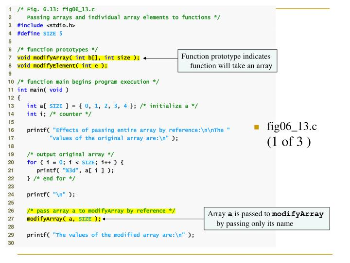 Function prototype indicates function will take an array