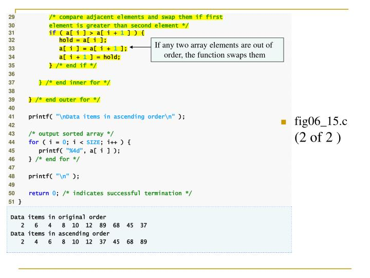 If any two array elements are out of order, the function swaps them