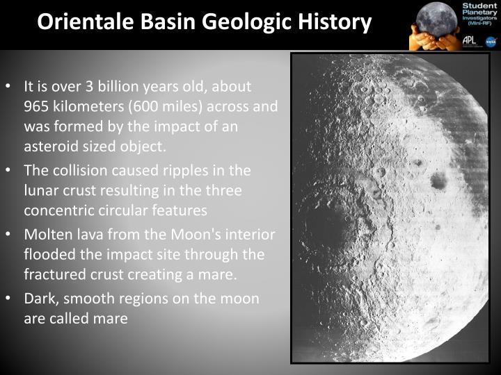 Orientale Basin Geologic History