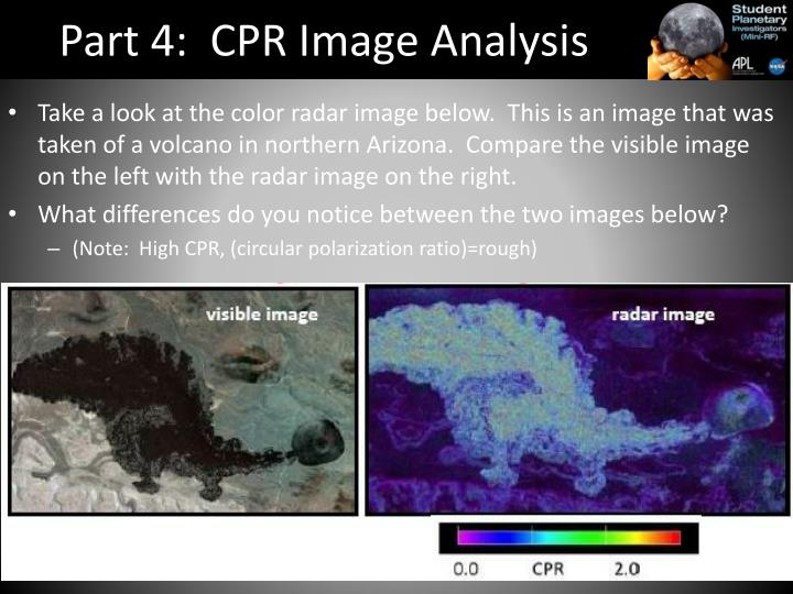 Part 4:  CPR Image Analysis