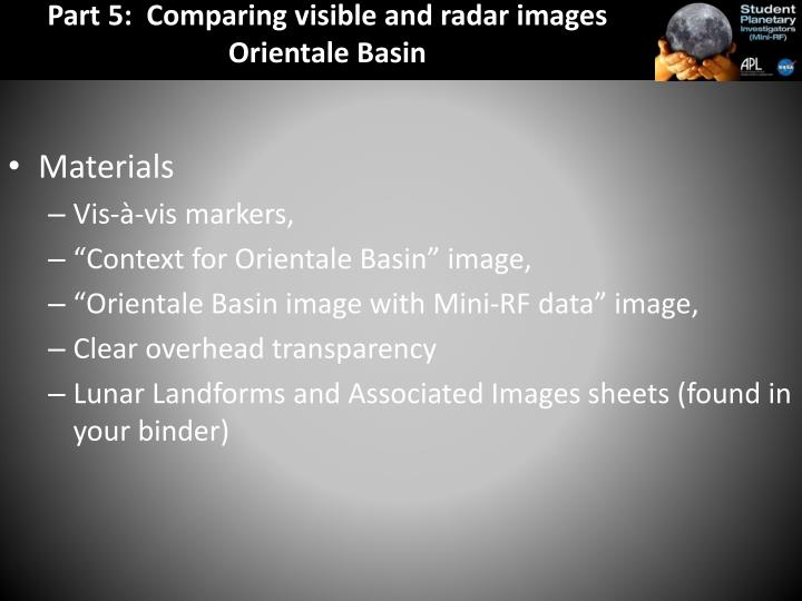Part 5:  Comparing visible and radar images