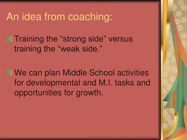 An idea from coaching: