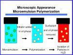 microscopic appearance microemulsion polymerization