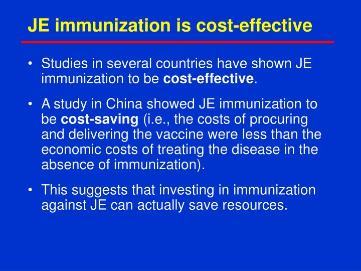 JE immunization is cost-effective