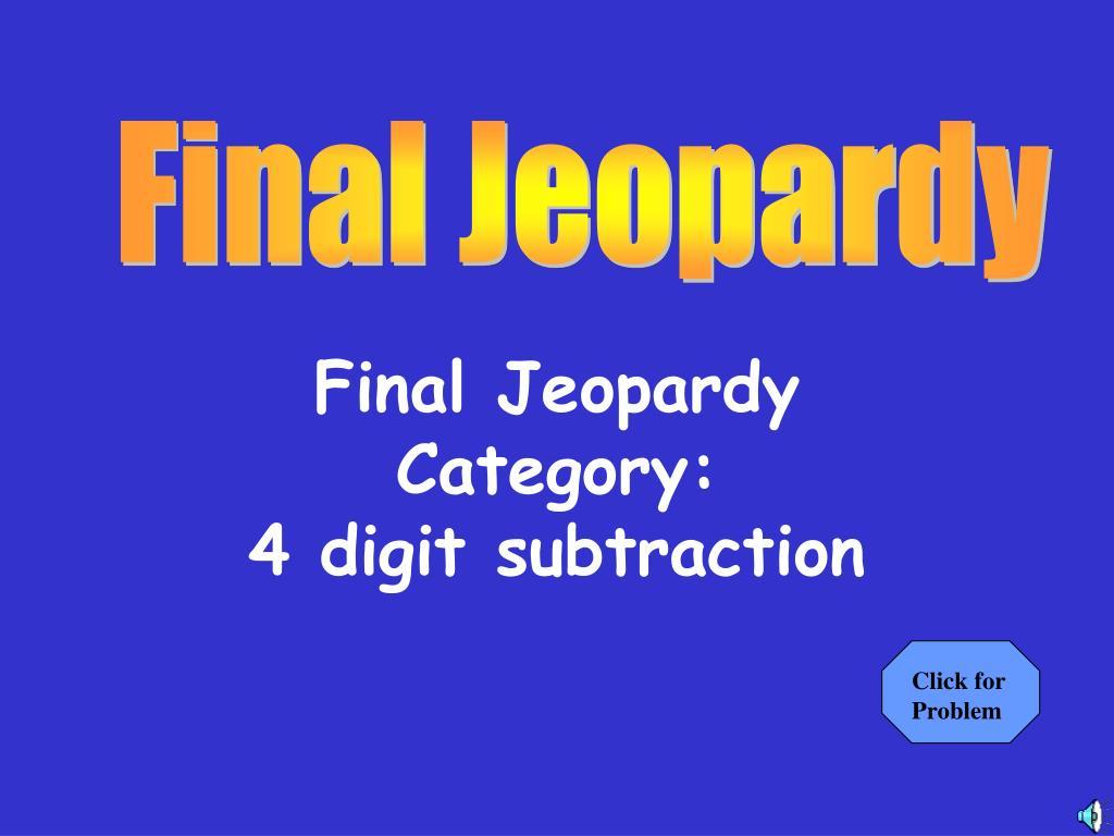 Final Jeopardy Category: