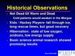 historical observations