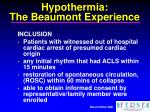 hypothermia the beaumont experience