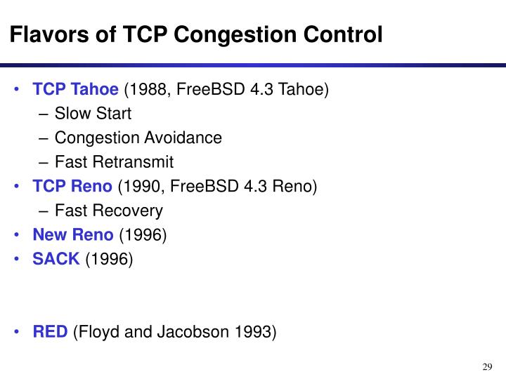 Flavors of TCP Congestion Control