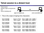 telnet session to a distant host