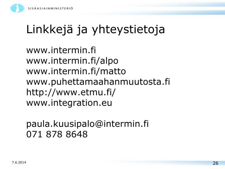 Linkkejä ja yhteystietoja