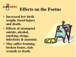 effects on the foetus