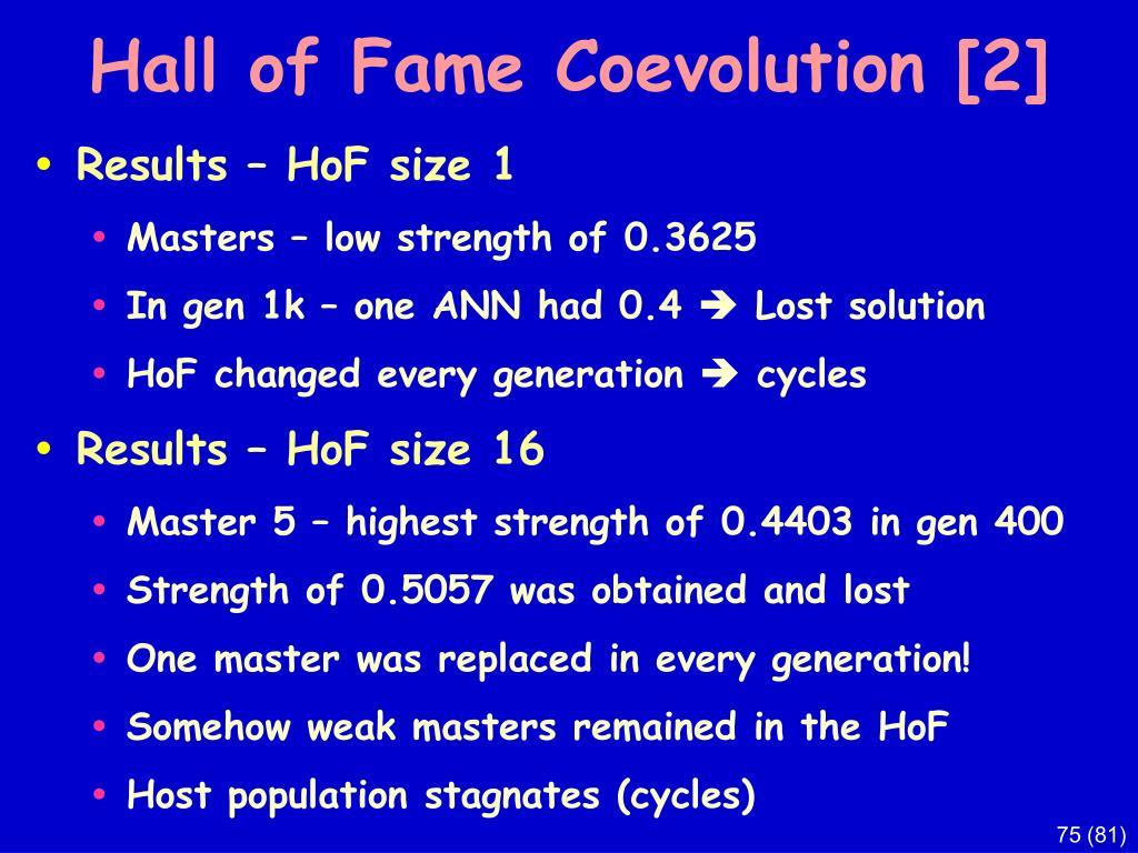Hall of Fame Coevolution
