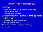 ranking and handicaps 2
