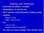 ranking and handicaps