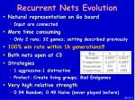 recurrent nets evolution