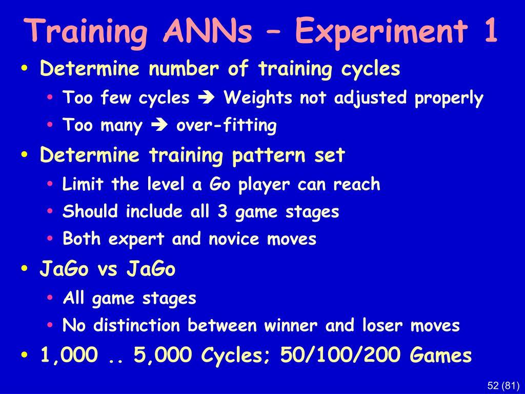 Training ANNs – Experiment 1