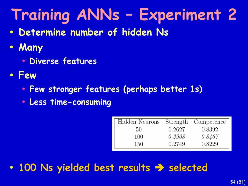 Training ANNs – Experiment 2