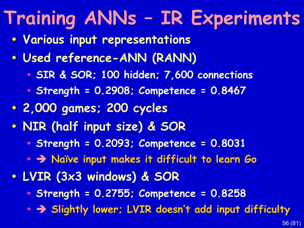 Training ANNs – IR Experiments