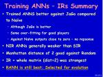 training anns irs summary60