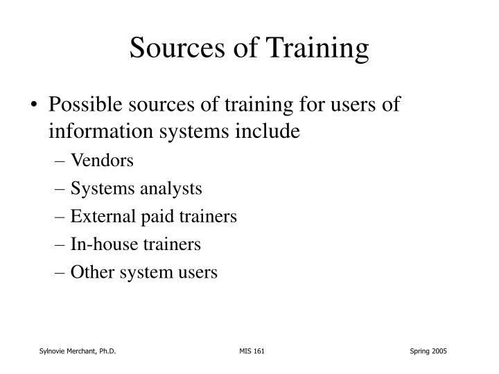 Sources of Training