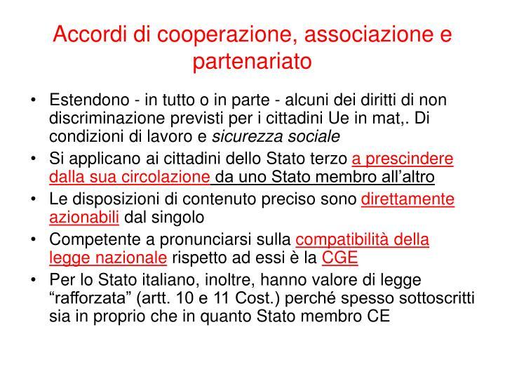 Accordi di cooperazione, associazione e partenariato