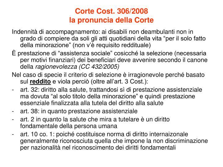 Corte Cost. 306/2008