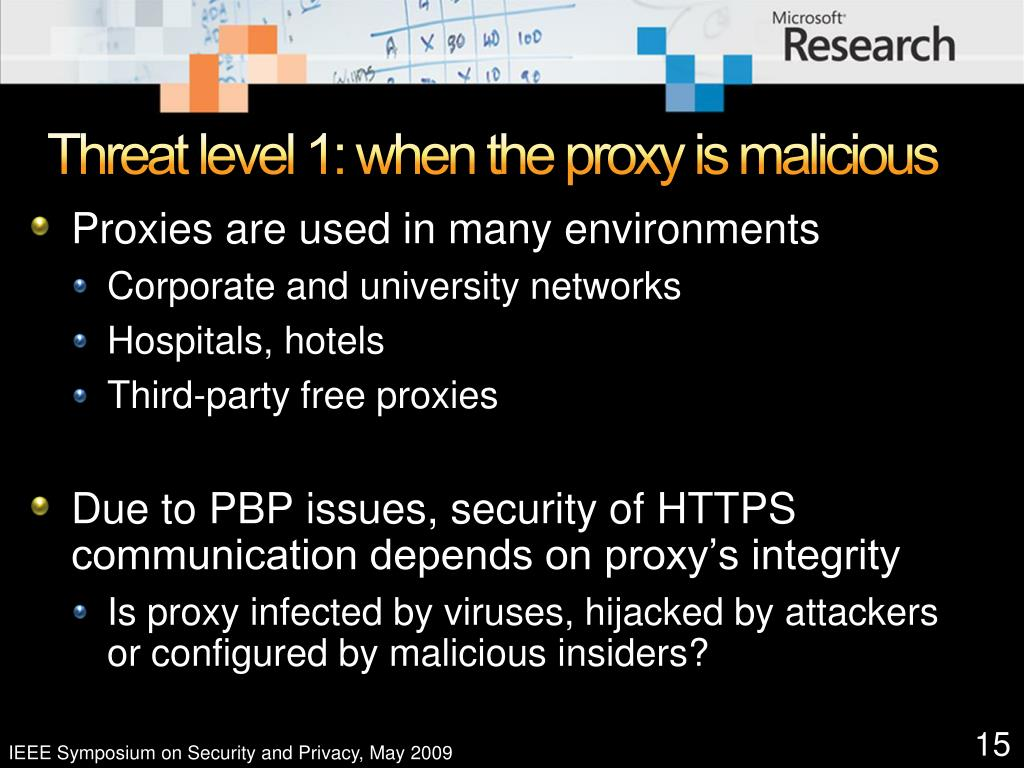 Threat level 1: when the proxy is malicious