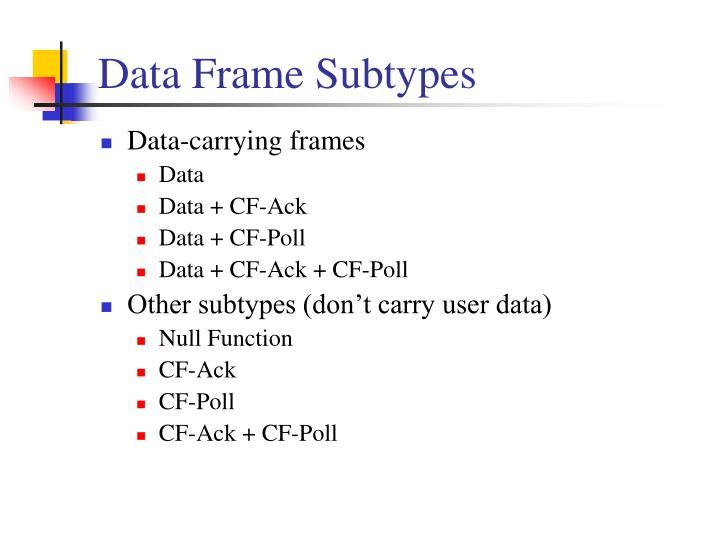 Data Frame Subtypes