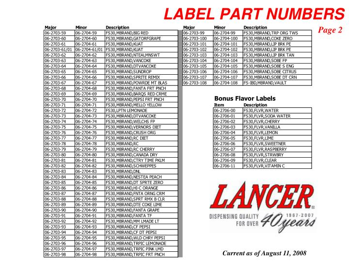 LABEL PART NUMBERS