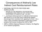 consequences of arbitrarily low indirect cost reimbursement rates