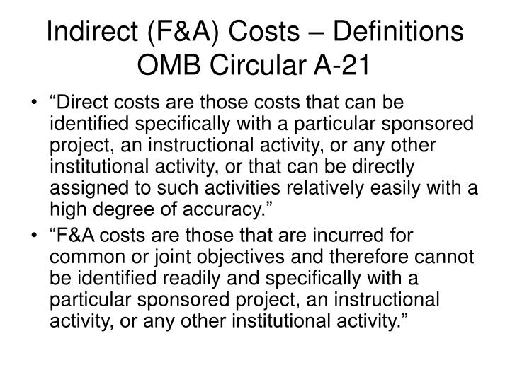 Indirect f a costs definitions omb circular a 21