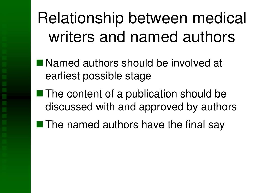 Relationship between medical writers and named authors