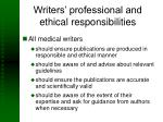 writers professional and ethical responsibilities