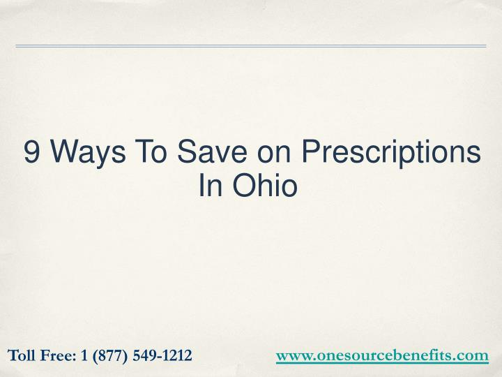 9 ways to save on prescriptions in ohio