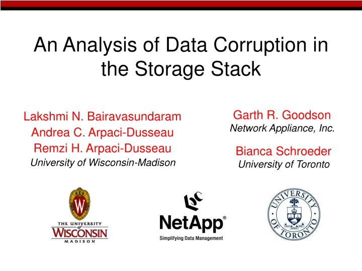 an analysis of data corruption in the storage stack